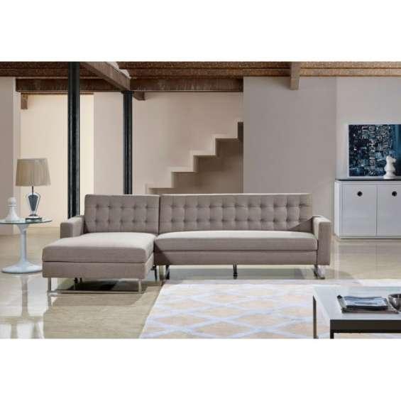 2 pcs sectional fabric beige color sofa