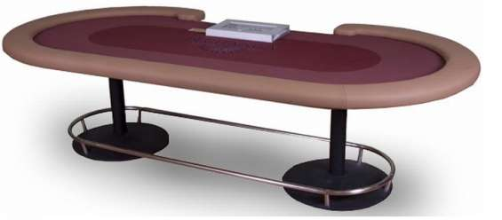 Casino quality texas hold'em poker table with metal pedestal legs and footrail