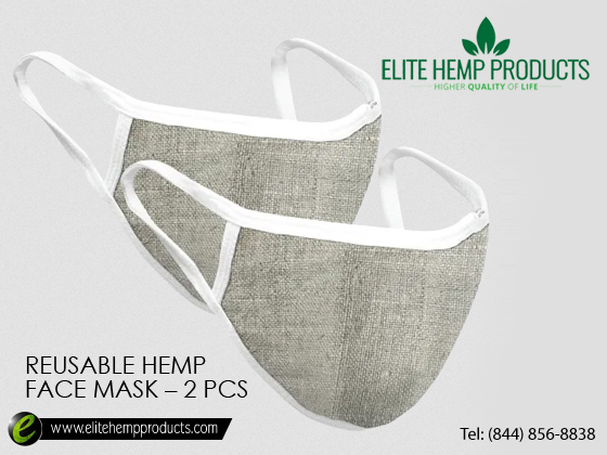 Buy 2 pcs reusable antibacterial face mask from elite hemp products