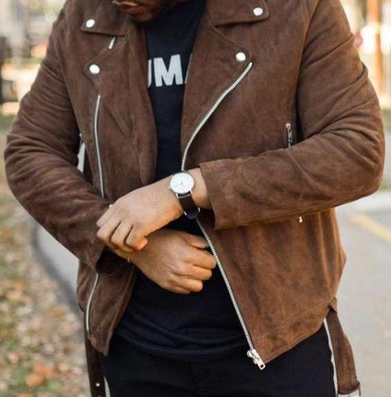 Men brown suede biker jacket