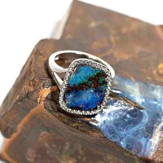 Aerial ocean views sterling silver & white topaz solid australian opal ring