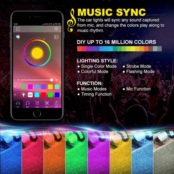 48 led dc 12v app interior led accent kit