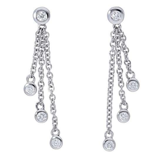 Deutsch signature bezel diamond drop earrings for women