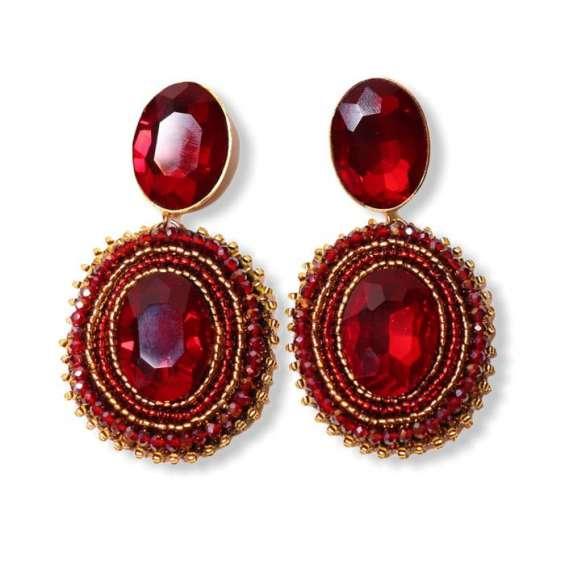 Beautiful red gemstone drop earrings