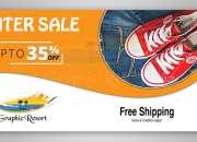 Download Free PSD Template Winter Sale Web Slider